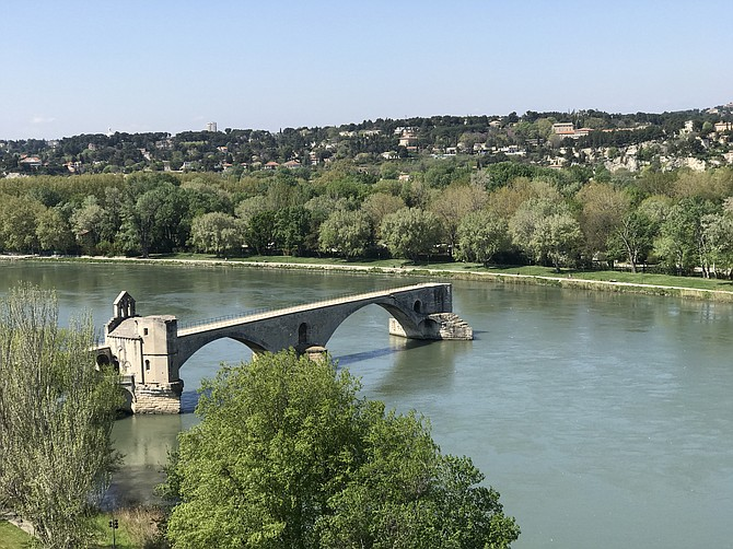 Pont Saint-Benezet in Avignon, France.  The remains of a medieval bridge built in 12th century.