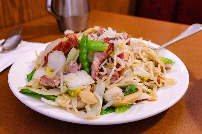 """""""Chop suey,"""" served here as special chow mein with BBQ pork"""