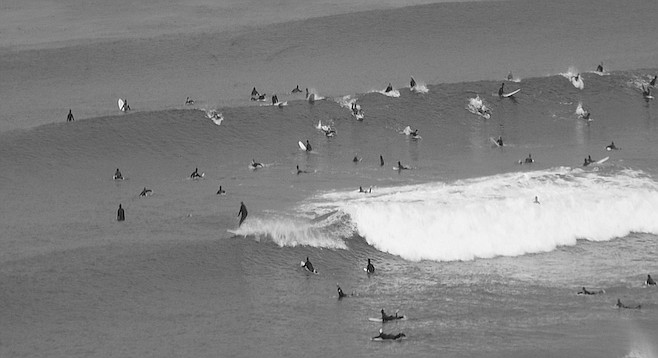 """La Jolla enjoys bigger surf than its neighbors because of the near absence of continental shelf."""