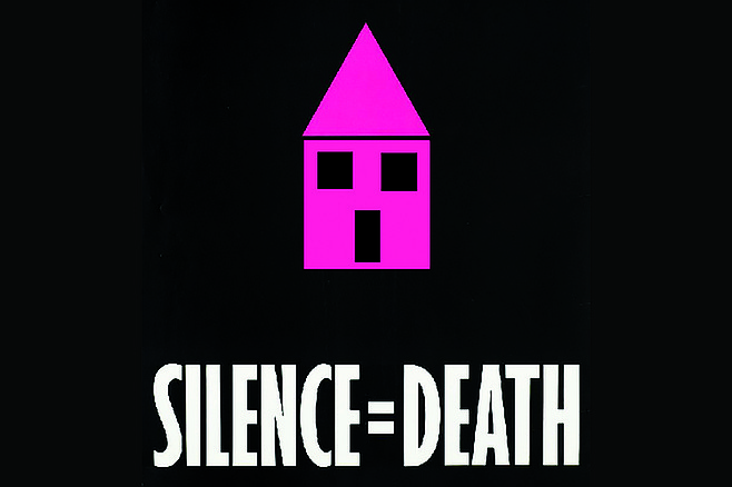 """Updated version of ACT-UPs famous poster, which extrapolates from the iconic pink triangle to imagine one of the Little Pink Houses sung about by John Mellencamp, because as Cheek notes, """"houses are what's needed now if we're going to make a better life for San Diego's gay community."""""""