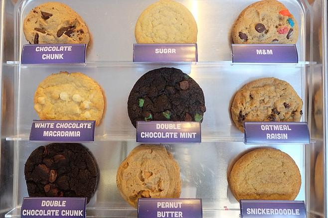 Cookies on display at Insomnia Cookies