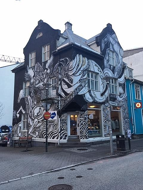 Downtown Reykjavik mural.
