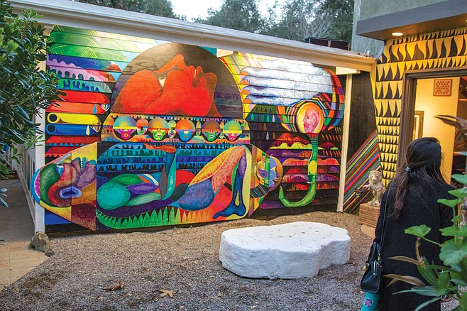 A mural by artist in residence Karl Ranson at A Ship in the Woods
