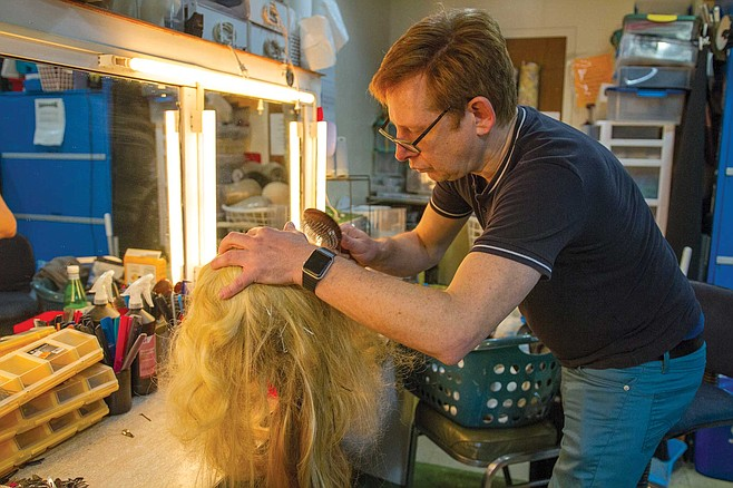 """Often when cast in a show, actors will request Peter Herman to design wigs and make-up. """"When I wear your wig,"""" one told him, """"when I look in the mirror, I see the character I imagined myself to be."""""""
