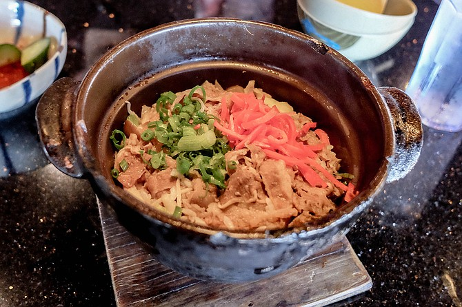 Kamameshi, aka kettle rice, with shaved ribeye and pickled ginger