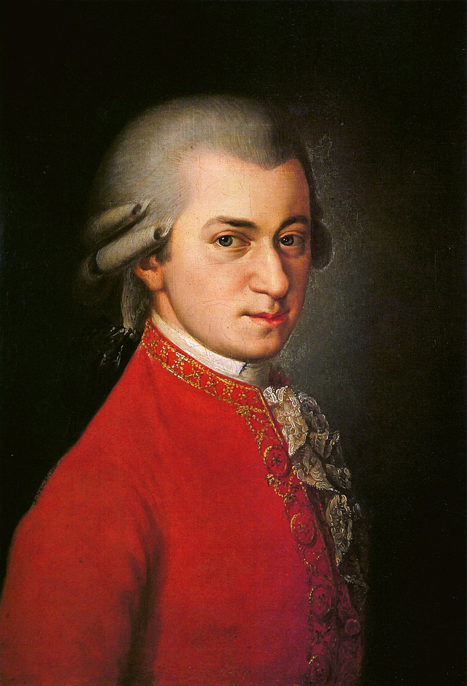 Mozart is the only one on all the lists. (Posthumous painting by Barbara Krafft in 1819)
