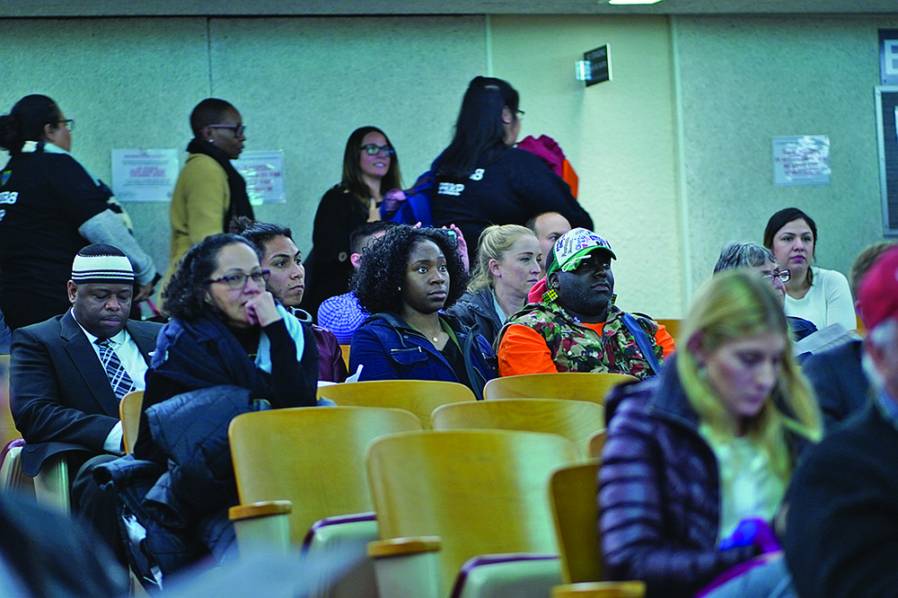 Members of the audience at the February 5 school board meeting  had to wait after the meeting to comment.