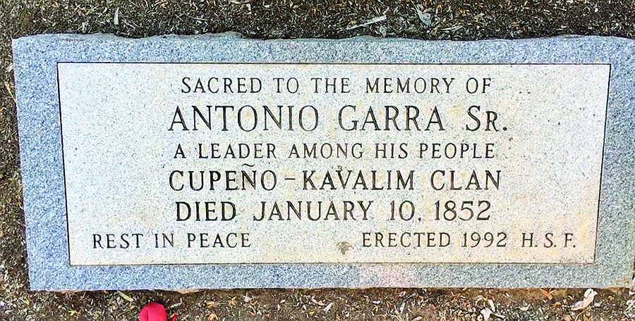 Antonio Garra's gravesite. The Kumeyaay revolutionary was shot right across the wall
