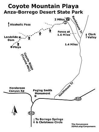 Coyote Mountain Playa map