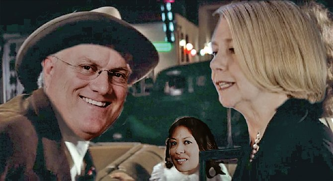 """""""Forget it, Mo, it's Chinatown."""" In a climactic scene, a drunken and distraught Maureen Stapleton confronts her superior, Water Authority Board Member Tom Kennedy, and accuses him of sleeping with Metropolitan Water District staffer Meena Westford (background), who represents the District's interests in San Diego. """"This whole relationship [between the Authority and the District, or possibly just between Kennedy and Westford] is sick and degrading,"""" cried Stapleton, before being released by the Authority, which insisted it was doing her a favor. """"It's my water, too,"""" soothed Kennedy, as Westford looked on apprehensively."""