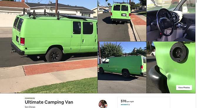Superhost Craig charges $70/night for green van in Clairemont.