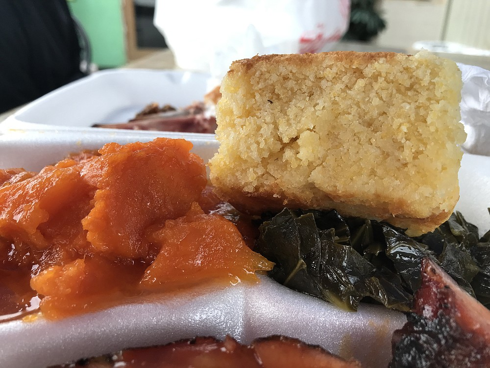 Candied yams, collard greens, and cornbread