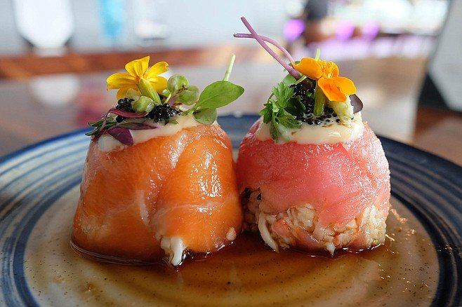 """Sushi muffins,"" topped with edible flowers and microgreens"