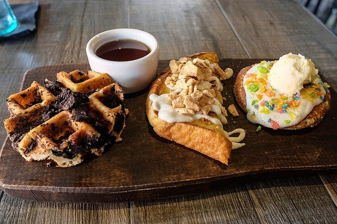 """The """"Mile High Club"""" breakfast flight: waffle, French toast, and pancake"""