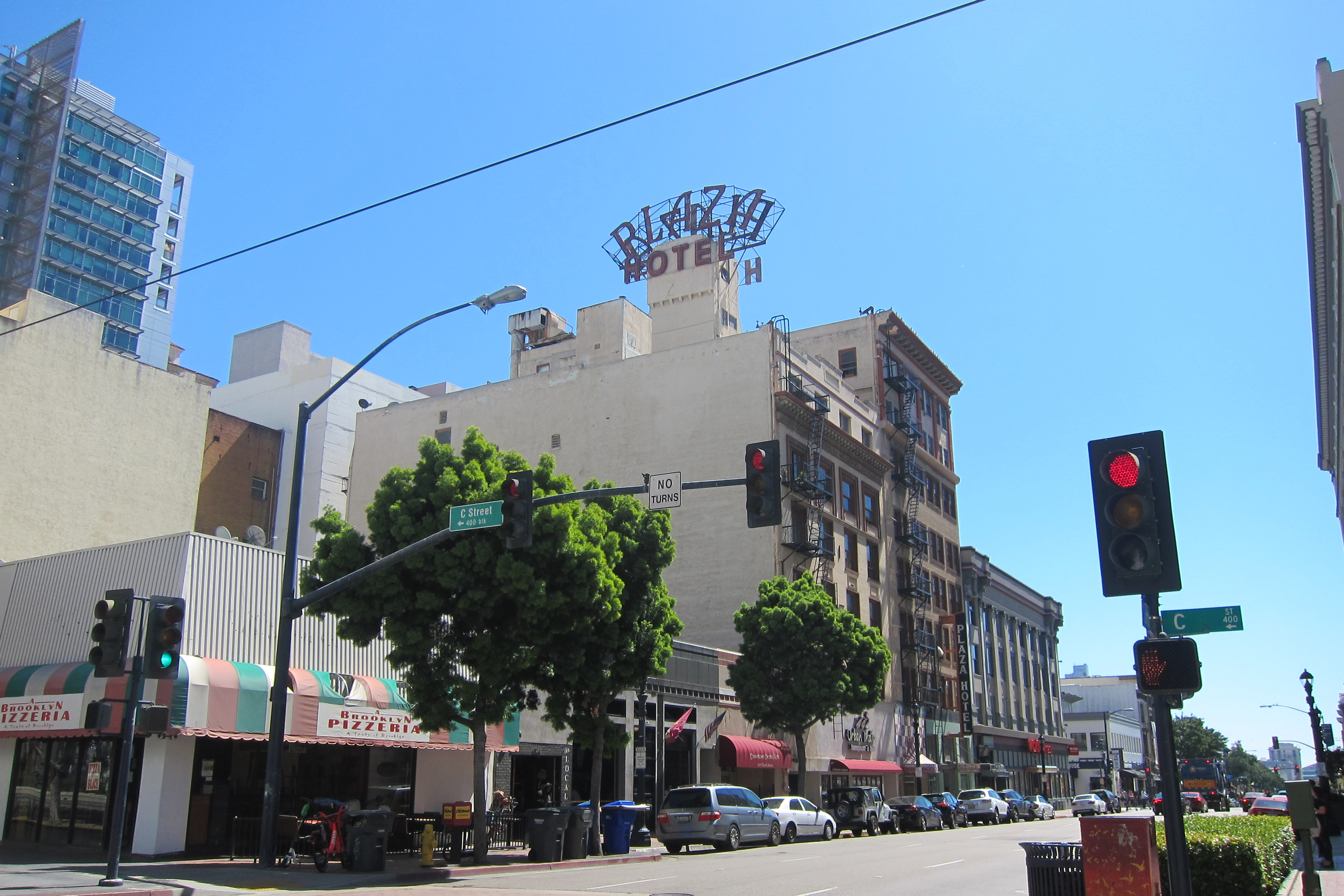 Downtown San Diego's Plaza Hotel goes; homeless parking proposed on Mission Bay