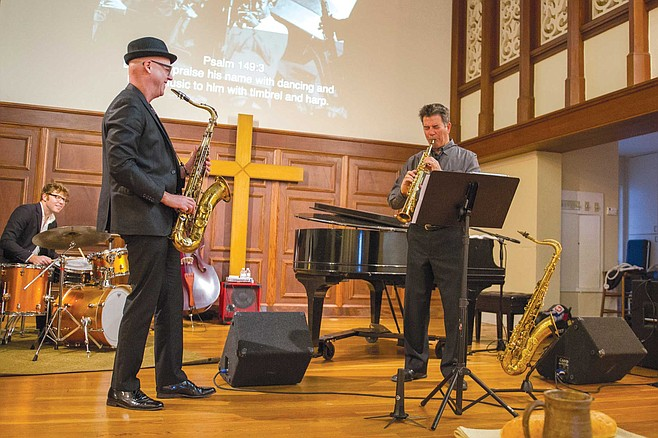 Archie Thompson, shown playing sax, is the jazz artist in residence and the music director of Jazz Vespers at First Presbyterian Church in downtown San Diego.