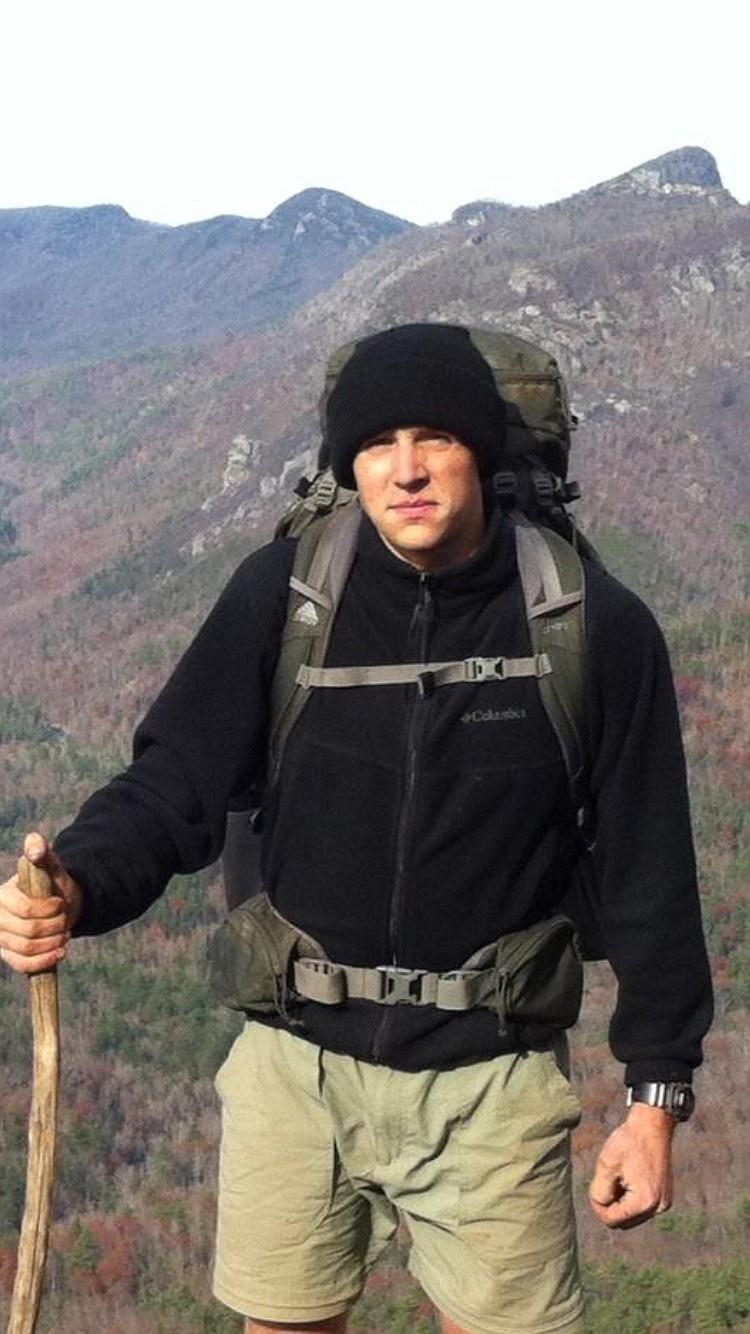 1st Lt. Matthew Kraft hiking