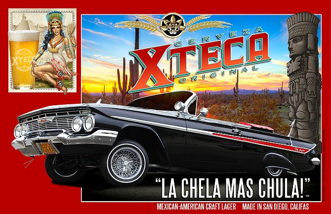 A lowrider beer ad produced by Cerveza Xteca
