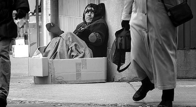 Daugherty as homeless