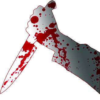 The knife severed a carotid artery resulting in massive blood loss.