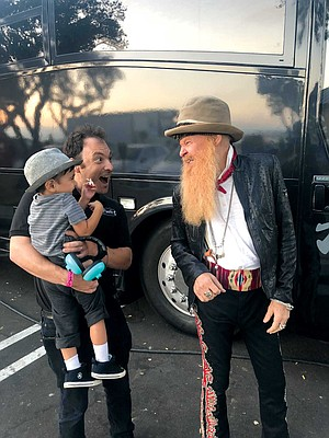 Pacific Records' Brian Witkin and son Jordan with ZZ Top's Billy Gibbons