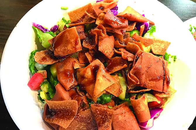 Fatoush: Baked pita chips, salad, pomegranate sauce