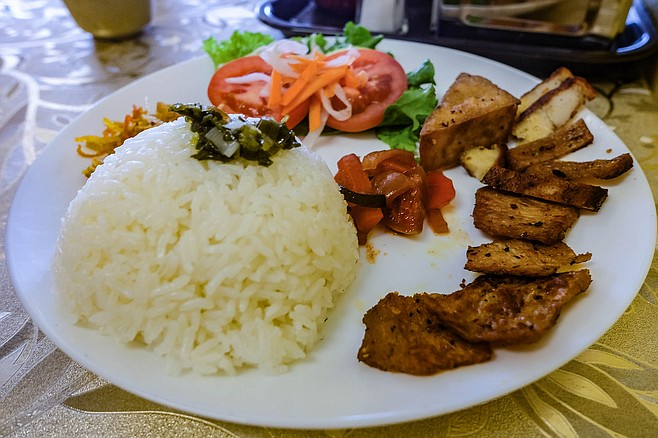 """""""Combination rice,"""" offering a sampling of the restaurant's ingredients"""