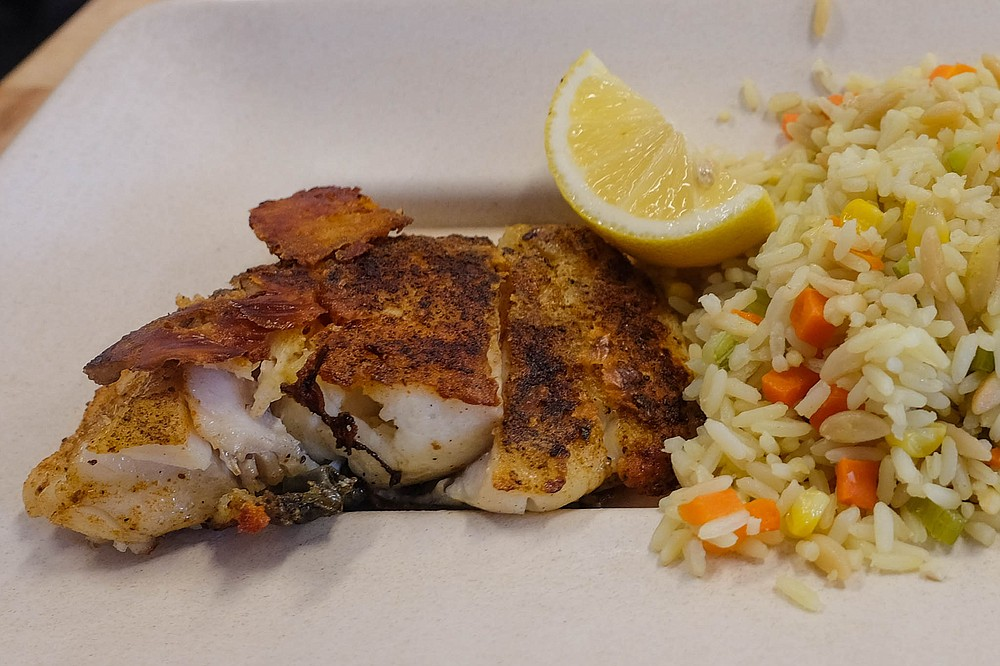 The Showcase Fish Platter: local halibut plus two sides