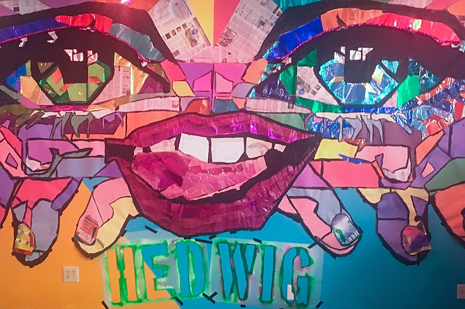 A Hedwig collage/mural in the lobby of the Diversionary Theatre