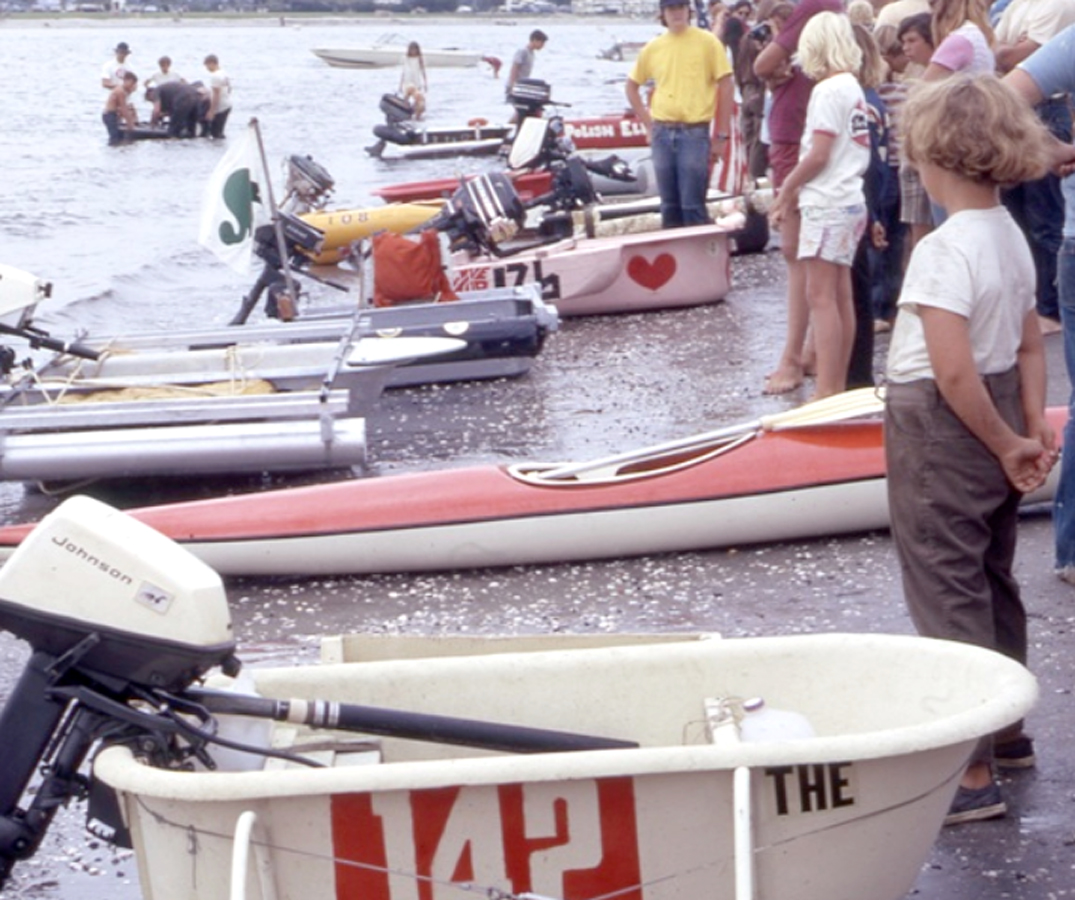 Bathtub races are easier to book at Crown Point Park than leashed dog walks it seems. (1973, city photo)