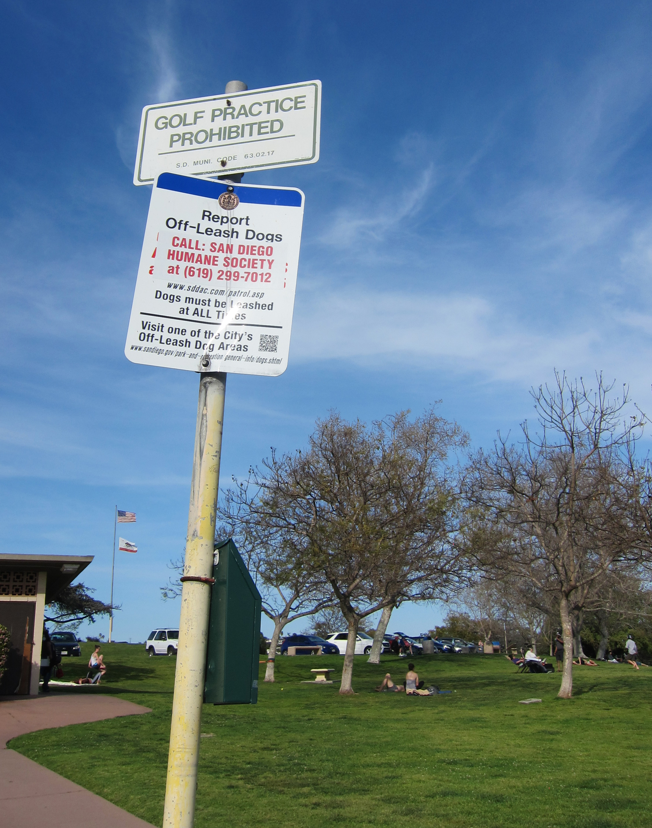 No unleashed dogs or golfing at Kate Sessions.