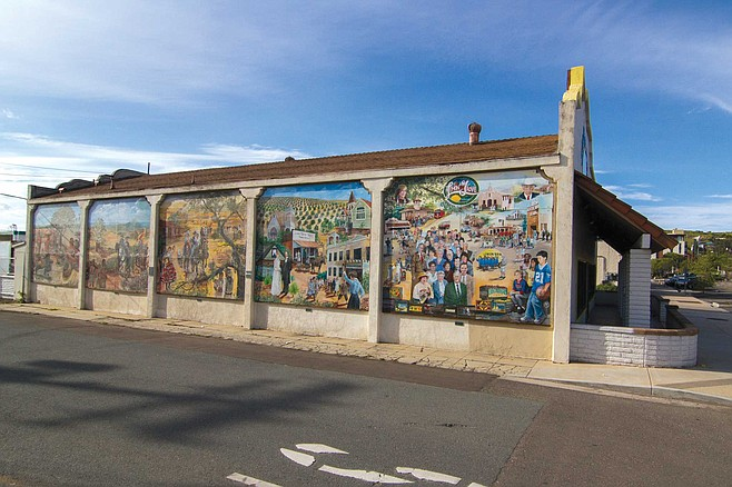 There's a five-panel, half-block-long, sun-splashed mural of Lemon Grove on the side of the Lemon Grove Baking Company, once the Sonka Brothers General Store