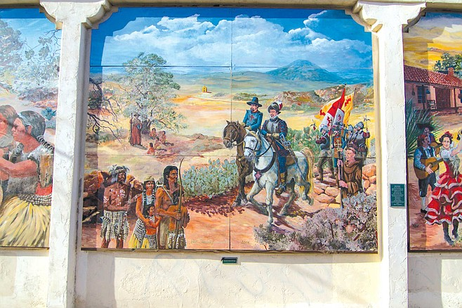 Lemon Grove Baking Company mural panel 2: the arrival of the Conquistadors with their Padres