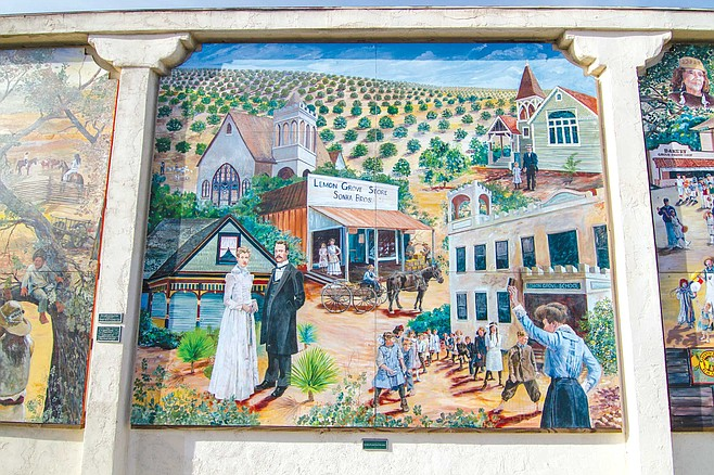 Lemon Grove Baking Company mural panel 4: the Little Town Surrounded by Orchards