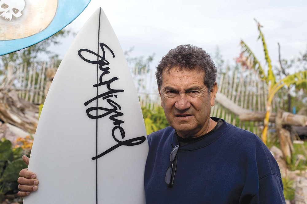 "The ""godfather"" of Ensenada surfboard builders, Edwardo ""Chega"" Chegaray at his San Miguel Surfboard factory"