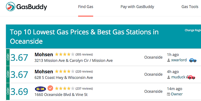 Today (April 16) prices on GasBuddy.com