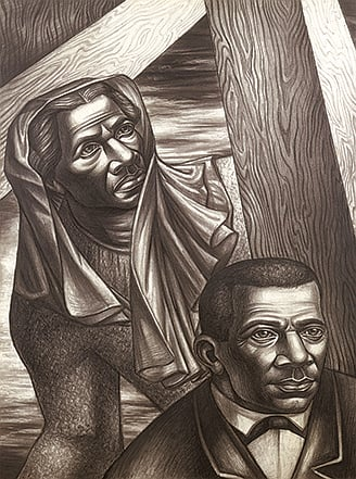 Charles White, Sojourner Truth and Booker T. Washington (Study for Contribution of the Negro to Democracy in America), 1943, collection of the Newark Museum, purchase 1944 Sophronia Anderson Bequest Fund, © The Charles White Archives, photo courtesy Michael Rosenfeld Gallery LLC, New York