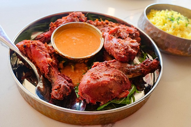 Distinctive but somewhat acrid clay oven tandoori chicken