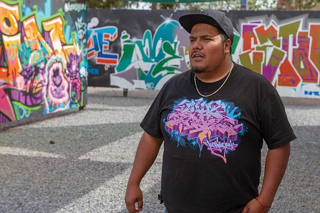 Jose 'Krown' Venegas is a graffiti artist and program-coordinator for the Writerz Blok, a 10,000-square-foot legal graffiti yard at Market and Euclid in Cholla View
