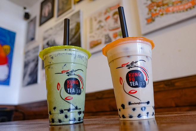 Sesame matcha latte and milk tea, both with boba