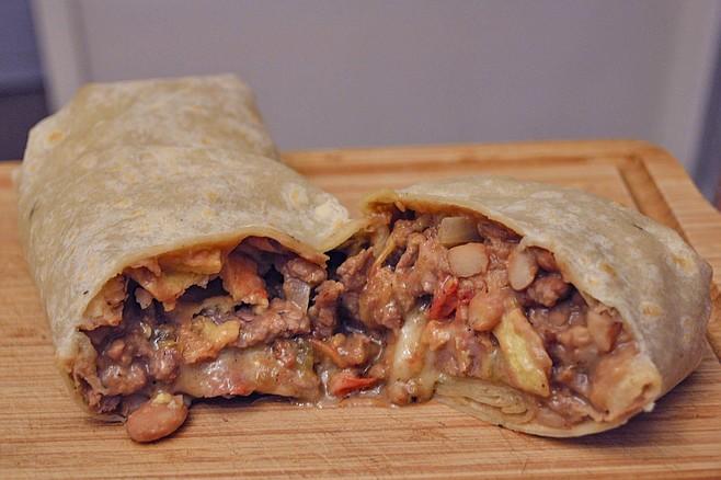 Carnitas Uruapan's Ranchero Burrito: it doesn't have to look pretty to taste fantastic.