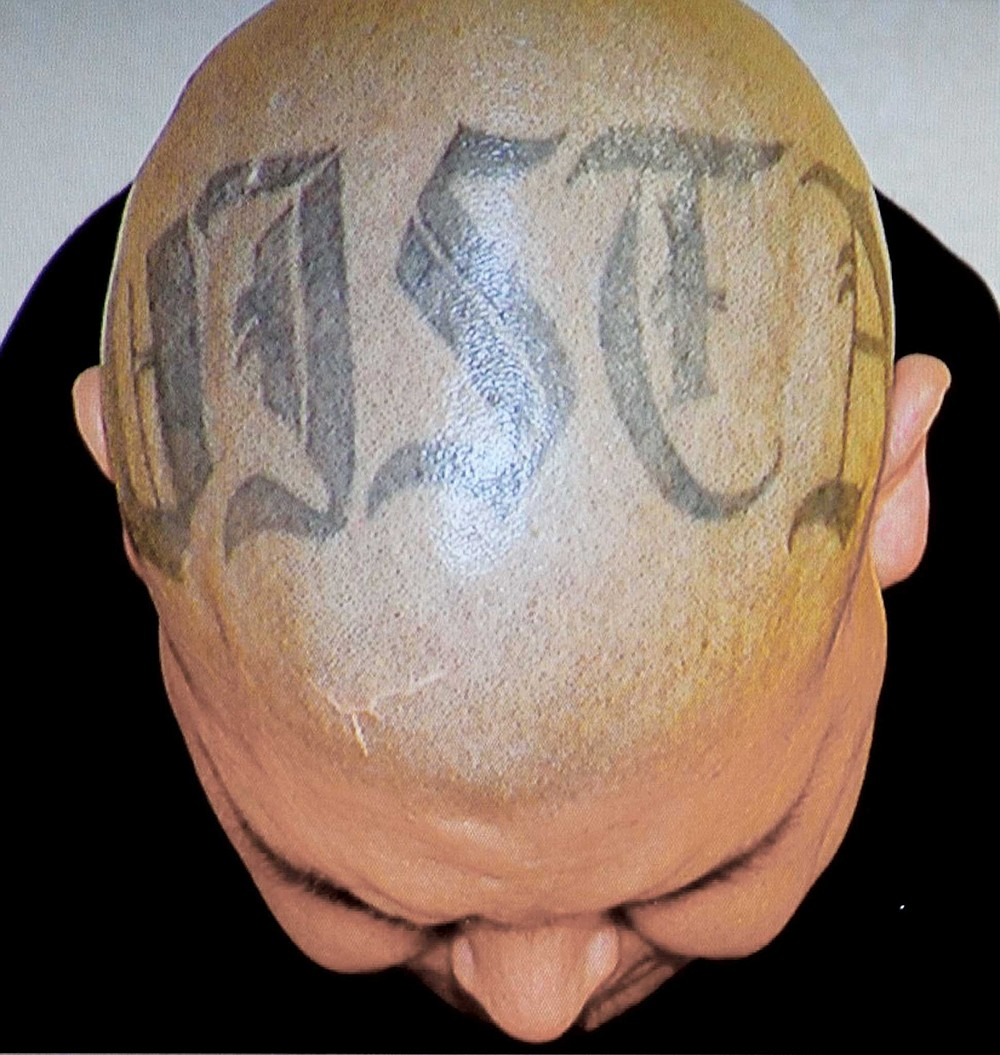 VISTA tattoo across top of Sorto's head, when he was arrested. Vista Home Boy.