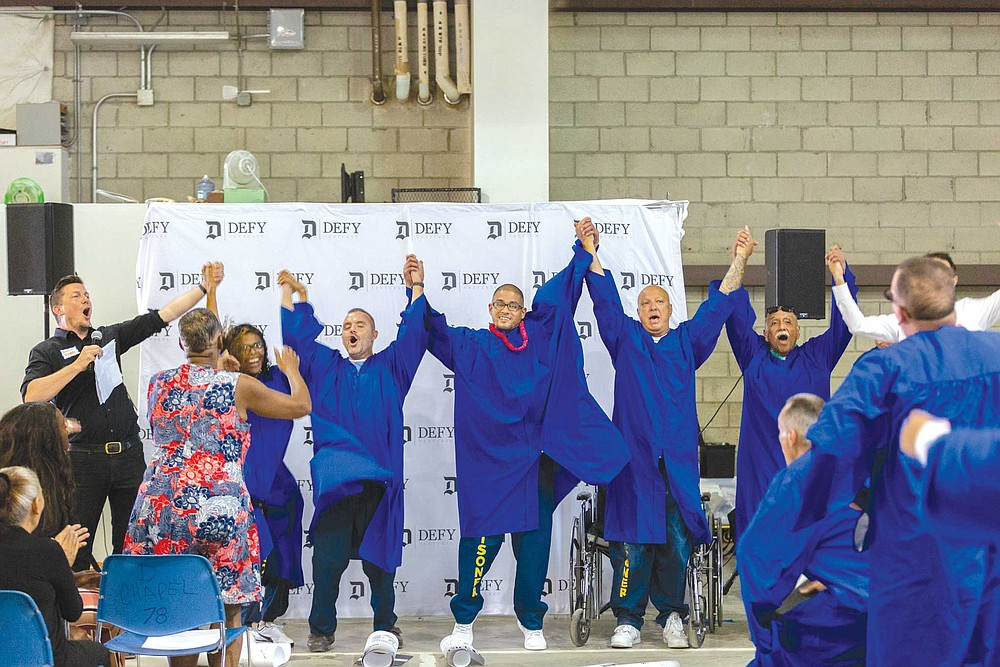"Crafting a plan for successful release: a ceremony for graduates of Defy Ventures' ""CEO of Your New Life"" program at Richard J. Donovan state prison in Otay Mesa."