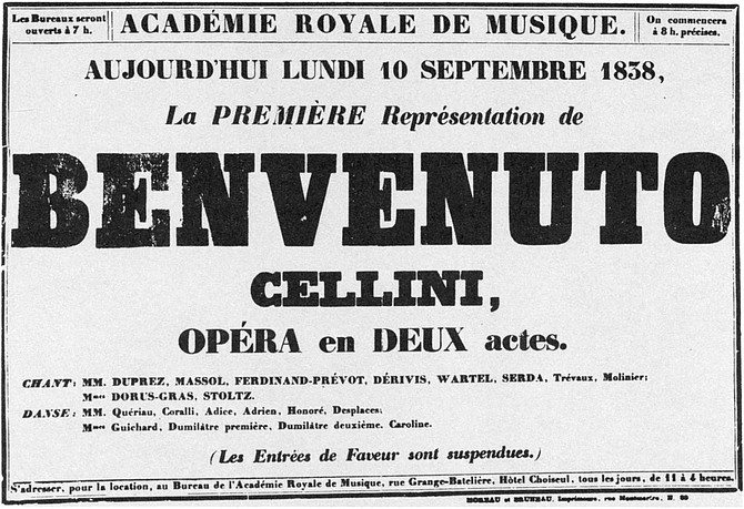 Poster for first performance (Sept. 10, 1838) of Benvenuto Cellini by Berlioz