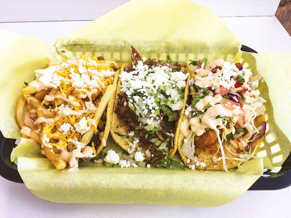 California taco, carne asada taco, and fried mahi taco from Valerie's Taco Stand in Vista