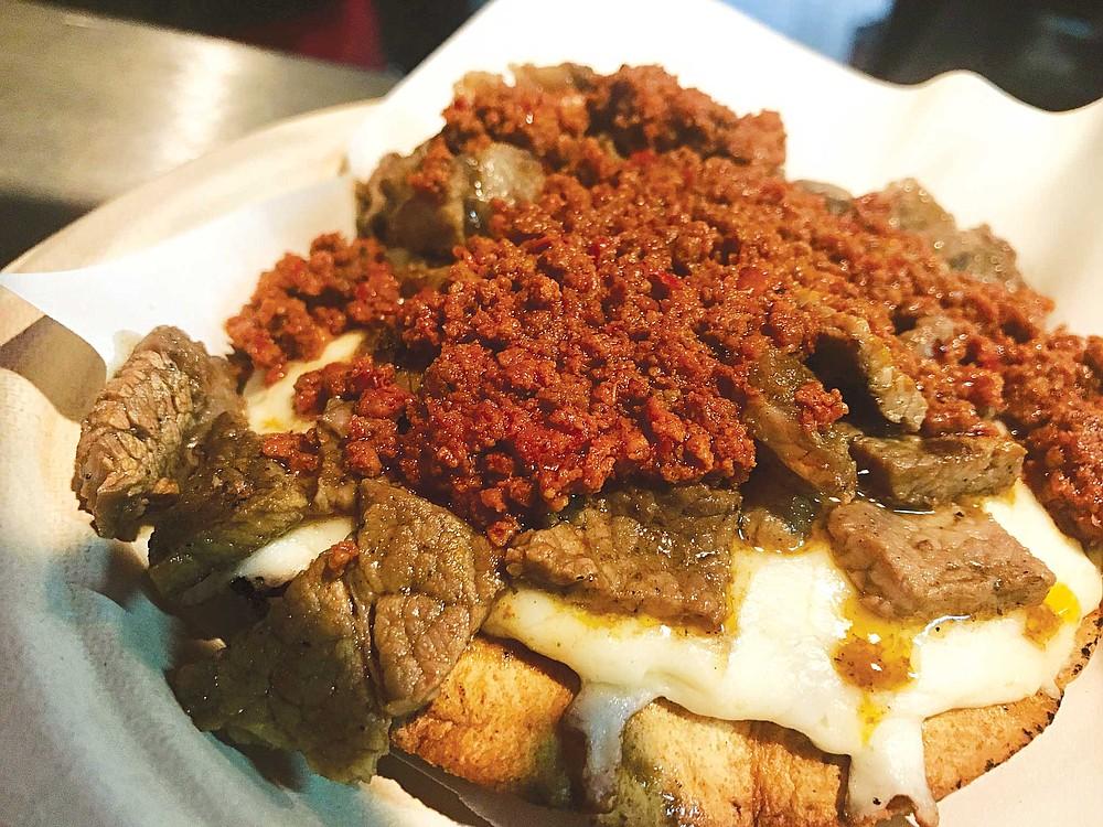 Tury's crisp Vampiro taco with chorizo and carne asada