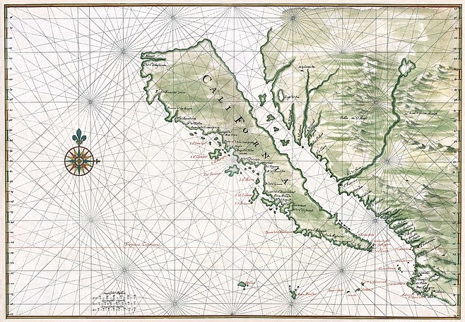 """Maps from the 1600s prove that mariners considered California to be an island, and it was believed that a ship could sail north through the Sea of Cortez, behind California through the """"Strait of Anian"""""""