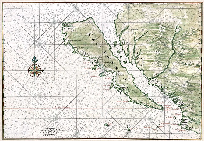 "Maps from the 1600s prove that mariners considered California to be an island, and it was believed that a ship could sail north through the Sea of Cortez, behind California through the ""Strait of Anian"""