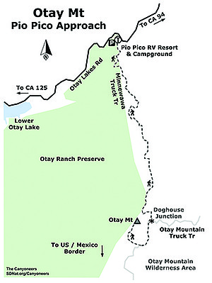 Otay Mt Pio Pico Approach map