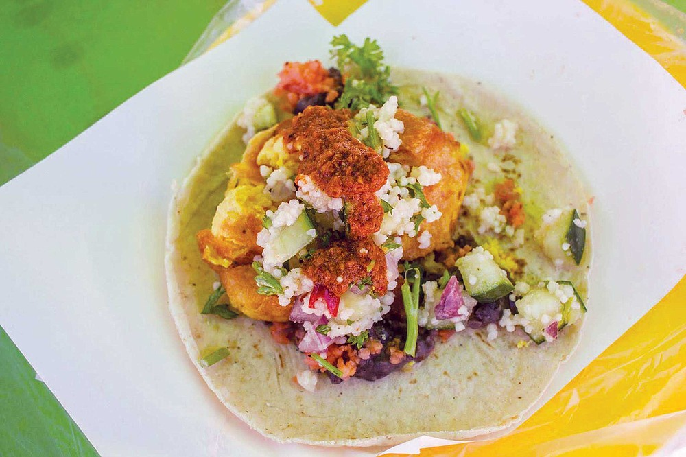 It takes six hipsters to make this intriguing battered cauliflower taco at TacoNveggie in Tijuana